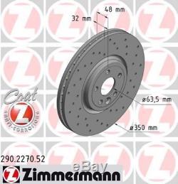 2x Zimmermann Bremsscheibe 290.2270.52 Für Jaguar
