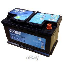 Exide Agm Start-stopp-batterie Ek800 Fr (a) 800 12v 80ah Modèle 2014/15