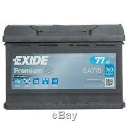 Exide Ea770 Haut De Gamme 096 5 Batterie De Voiture Ans De Garantie 77ah 760cca Électrique 12v