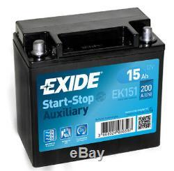 Exide Ek151 Batterie 12v 15ah 200a Aux Jaguar Land Rover Original Oem Véritable